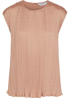 Max Mara Woman Urbino Plissé-satin Top Antique Rose