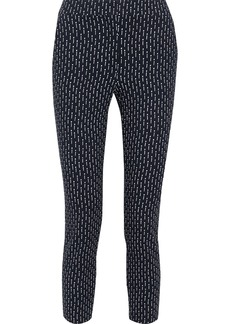Max Mara Woman Veber Cropped Printed Jersey Skinny Pants Midnight Blue