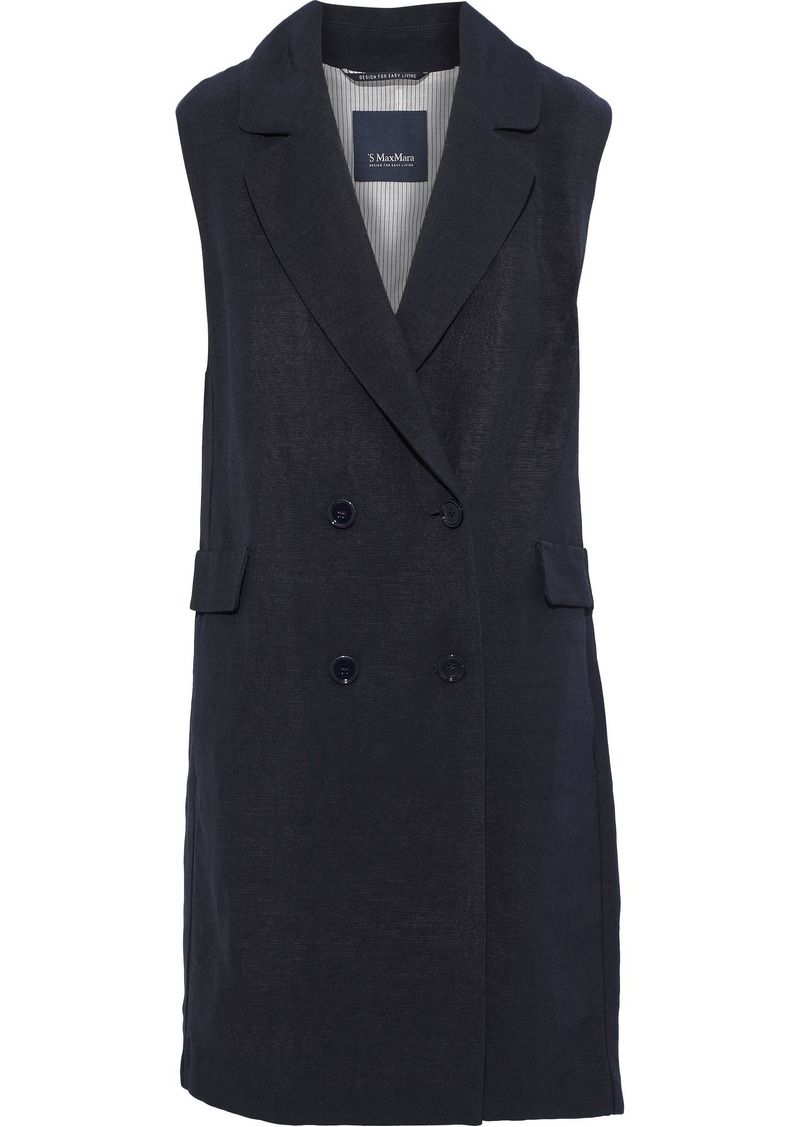 Max Mara Woman Velia Double-breasted Canvas Vest Navy