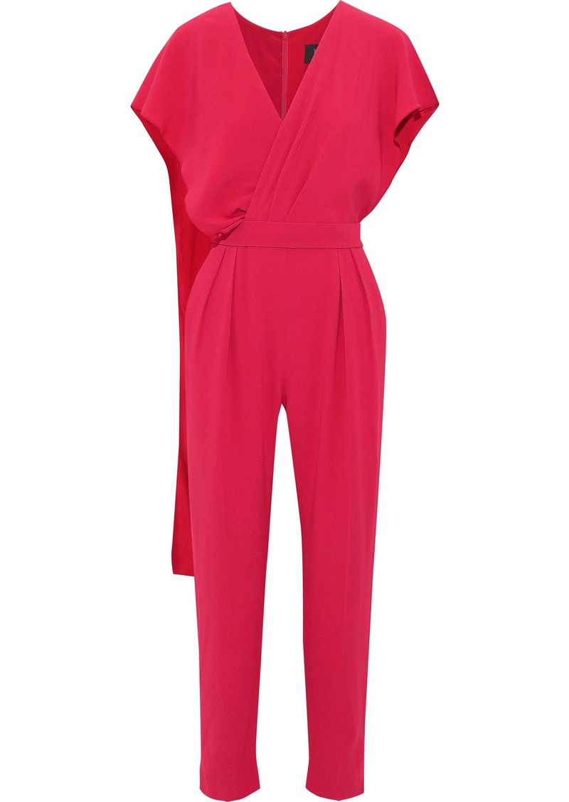 Max Mara Woman Verusca Wrap-effect Cropped Crepe Jumpsuit Red