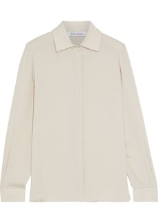 Max Mara Woman Viaggio Silk-crepe Shirt Neutral