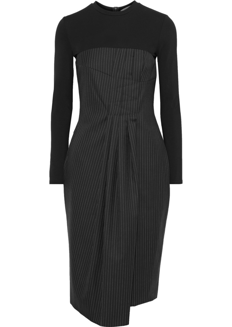 Max Mara Woman Vik Jersey-paneled Pinstriped Wool-blend Twill Dress Black