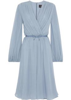 Max Mara Woman Zeda Wrap-effect Belted Silk-georgette Dress Light Blue
