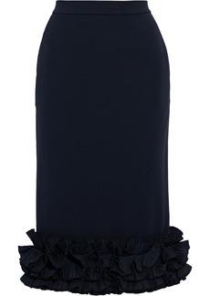 Max Mara Woman Zircone Ruffled Cady Pencil Skirt Navy