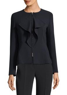 Max Mara Long-Sleeve Ruffle Jacket