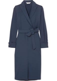 Max Mara Wrap-effect stretch-wool and silk crepe de chine dress