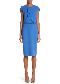 Max Mara Zarina Ruffle Stretch Wool Dress