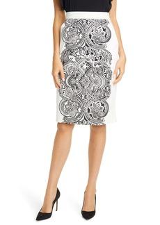 Max Mara Zinnia Print Pencil Skirt