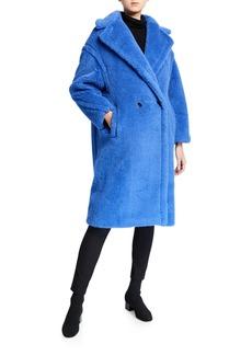 Max Mara Maxmara Alpaca-Silk Teddy Knit Coat   Blue