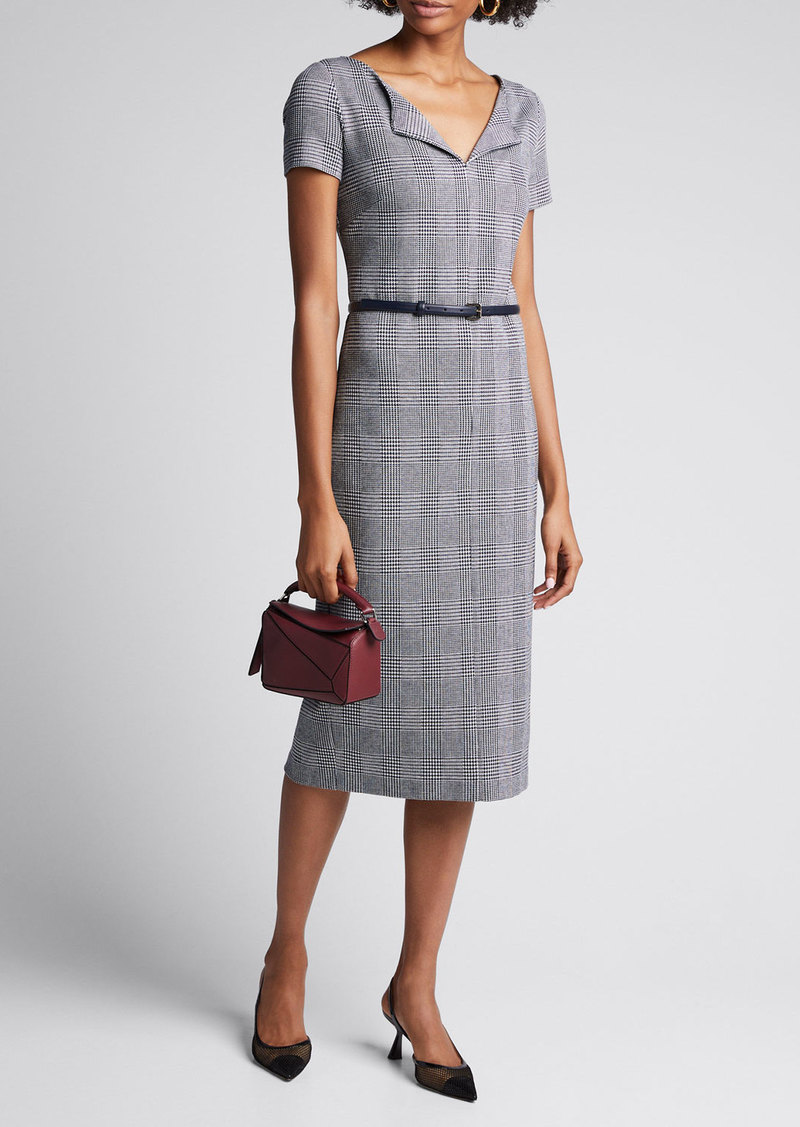 Max Mara Maxmara Boris Houndstooth Jersey Belted Dress