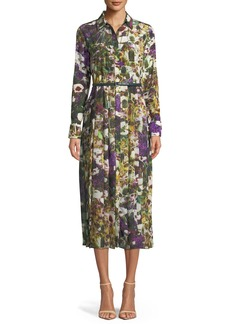 Max Mara Maxmara Button-Down Long-Sleeve Belted Floral-Print Dress