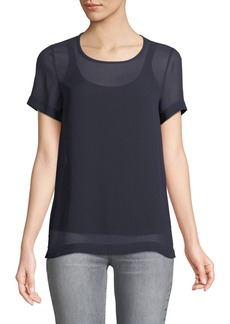 Max Mara Maxmara Domino Crewneck Short-Sleeve Silk Blouse