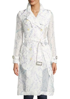 Max Mara Maxmara Double-Breasted Belted Floral-Print Silk Trench Coat