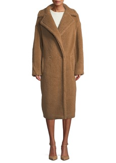 Max Mara Maxmara Double-Breasted Camel Hair Blend Teddy Coat
