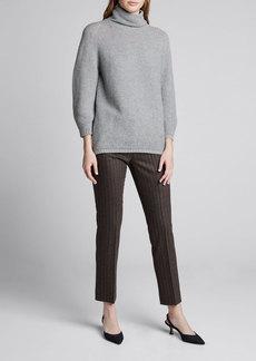 Max Mara Maxmara Erice Pinstriped Wool-Cashmere Crop Pants