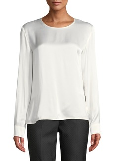 Max Mara Maxmara Ezio Round-Neck Long-Sleeve Silk Satin Shirt