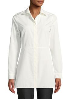 Max Mara Maxmara Losanna Button-Front Long-Sleeve Flared Cotton Shirt