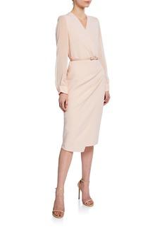 Max Mara Maxmara Manuel Chiffon-Sleeve Belted Dress