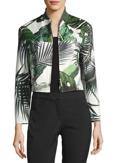 Max Mara Maxmara Palm-Print Cropped Bomber Jacket
