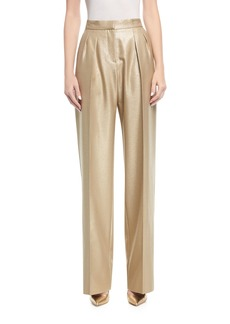 Max Mara Maxmara Pleated Metallic Pants