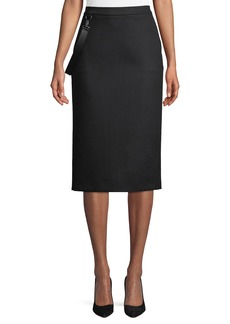 Max Mara Maxmara Polder Crepe Knee-Length Skirt w/ Leather Strap Detail