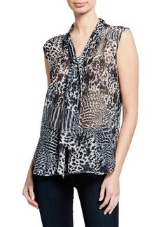 Max Mara Maxmara Ribelle Sleeveless Animal-Print Chiffon Shirt