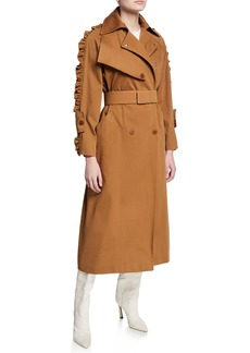 Max Mara Maxmara Ruffled-Sleeve Trench Coat