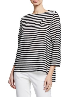 Max Mara Maxmara Semele 3/4-Sleeve Striped Jersey Top