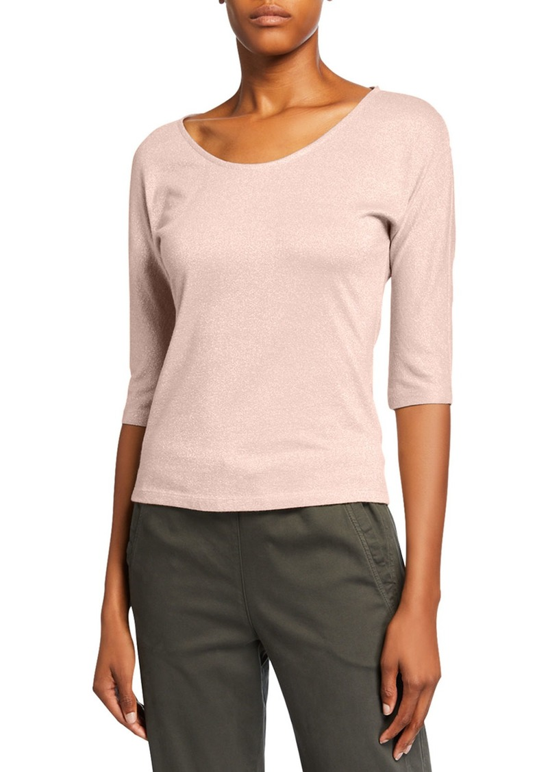 Max Mara Metallic Elbow-Sleeve Round-Neck Tee