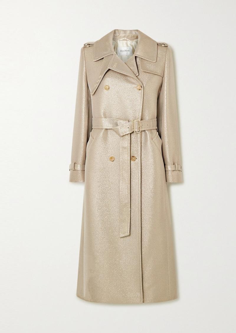Max Mara Metallic Wool-blend Twill Trench Coat