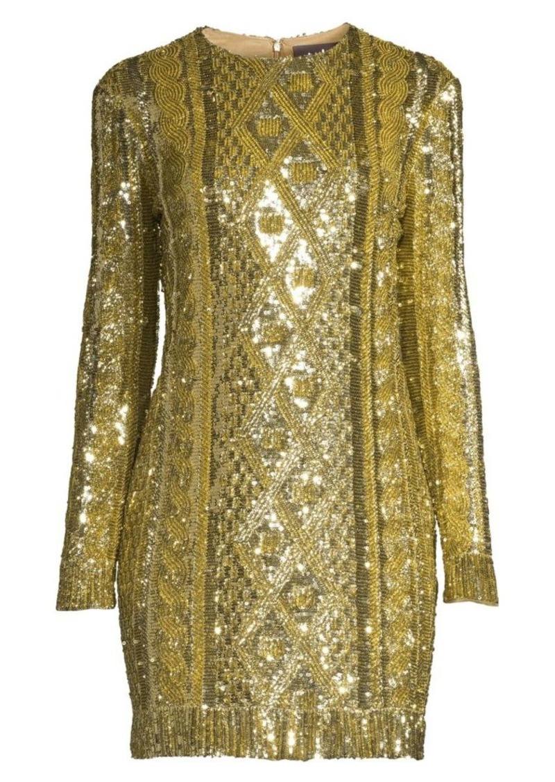 Max Mara Nicia Cable Knit Sequin Cocktail Dress