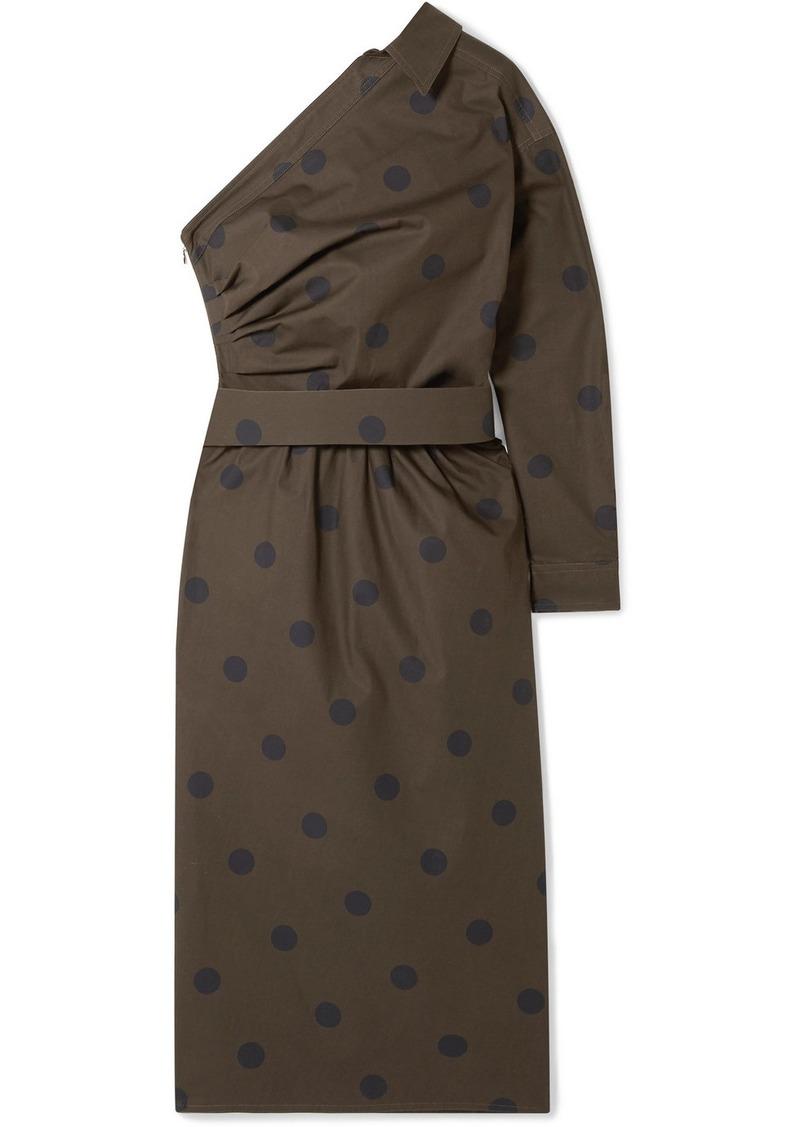 Max Mara One-shoulder Belted Polka-dot Cotton-poplin Dress
