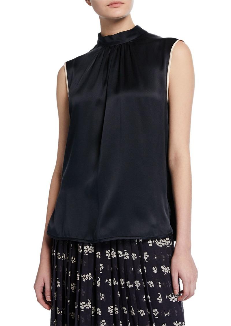 Max Mara Orel Sleeveless Two-Tone Silk Blouse
