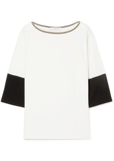 Max Mara Orologi Satin-trimmed Two-tone Crepe Top