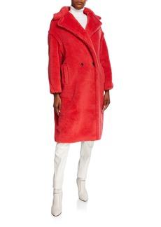Max Mara Oversized Fuzzy Teddy-Knit Coat  Coral