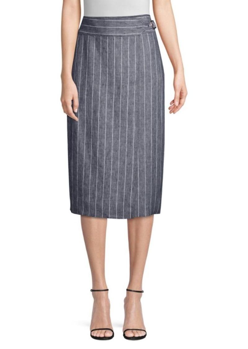 Max Mara Palco Pinstripe Wrap Skirt