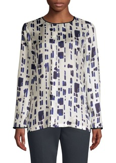 Max Mara Perim Silk Abstract Dot Blouse