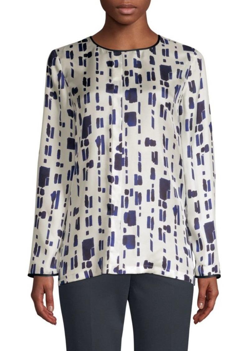 Max Mara Perim Silk Abstract Dot Blouse