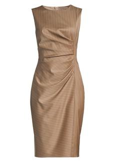 Max Mara Pino Pinstripe Ruched Virgin Wool Dress