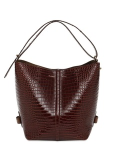 Max Mara Plages Croc Embossed Leather Tote Bag