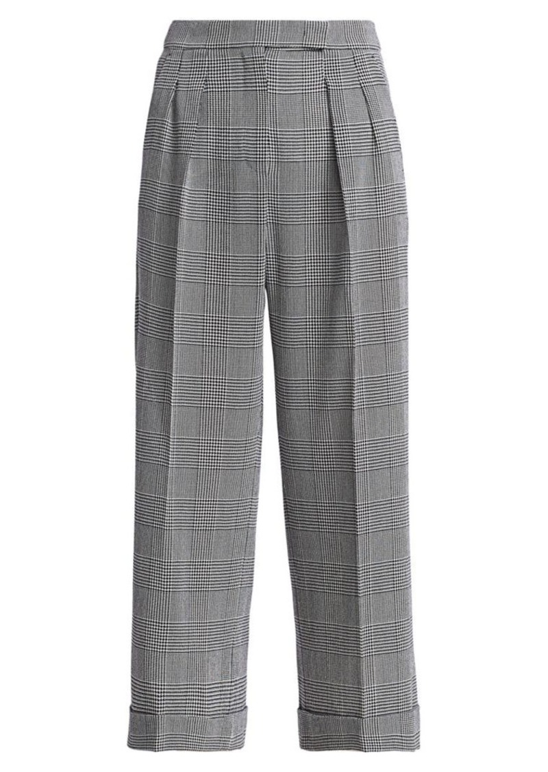 Max Mara Plaid Wide Crop Virgin Wool Pants