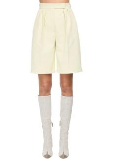 Max Mara Pleated Cotton Bull Shorts