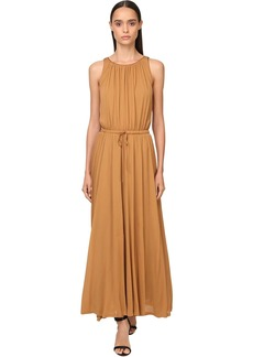 Max Mara Pleated Jersey Crepe Midi Dress