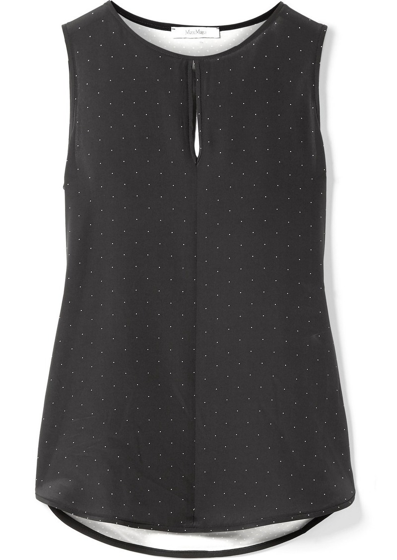 Max Mara Polka-dot Silk And Stretch-jersey Top