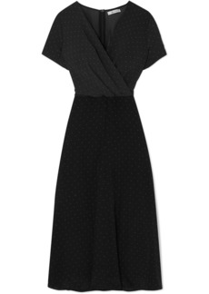 Max Mara Polka-dot Silk-chiffon And Jersey Midi Dress