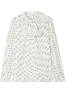 Max Mara Polka-dot silk crepe de chine and stretch-jersey blouse