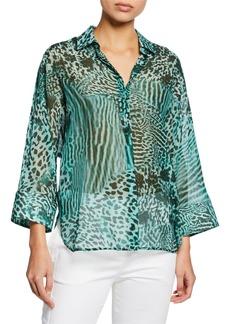 Max Mara Prati Animal-Print Voile Shirt