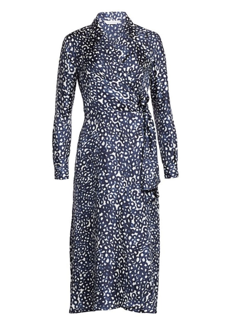 Max Mara Ravel Abstract Circle Print Silk Midi Dress