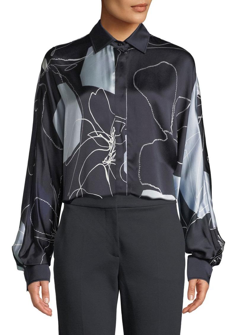 Max Mara Renna Abstract-Print Silk Button-Front Blouse