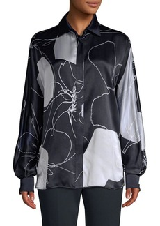 Max Mara Renna Silk Abstract Floral Blouse